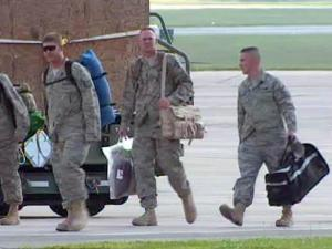 Members of the 336th Fighter Squadron and the 4th Maintenance Group return to Seymour Johnson Air Force Base on Sept. 9, 2009, after a four-month deployment to Afghanistan.