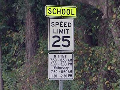A school zone sign in Knightdale.