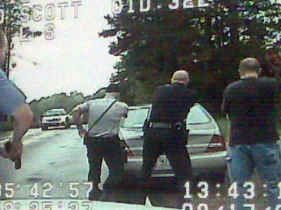 A screenshot of dash camera video from a shootout involving two Chatham County deputies and a suspect on Sept. 17, 2009.