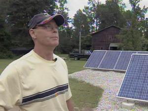 Randy Darling discusses the solar-energy system he and his wife installed at their home in the Eastover community of Cumberland County.