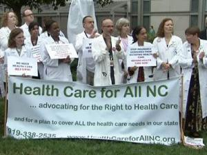 The national health care debate was back in the spotlight in the Triangle Friday with about 70 medical professionals and patients rallying at UNC Hospitals in Chapel Hill in support of a comprehensive reform package.