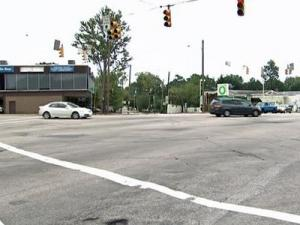 Traffic can get confusing within Raleigh's Five Points area.