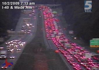 A resurfacing project on I-40 westbound created major delays around Wade Avenue.