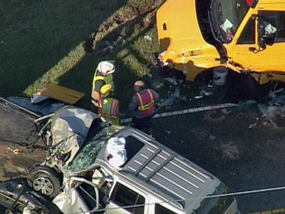 At least two people were injured in a wreck involving a school bus and SUV at N.C. Highway 210 and N.C. Highway 50 in Johnston County.