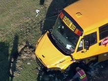 Sky 5 view of Johnston County school bus wreck