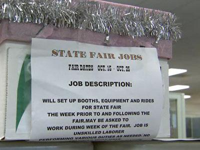 Applications for jobs at the North Carolina State Fair are being routed through the state Employment Security Commission.