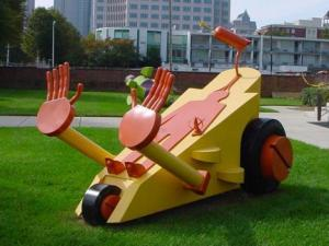 """Toy Defense,"" a 2004 work by Adam Walls, of Red Springs, will be on display in the Raleigh City Plaza for a year until October 2010. (Photo courtesy of the Raleigh Arts Commission)"
