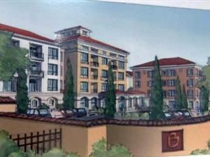 An artist's rendering depicts the proposed Bellagio apartment complex on Bragg Boulevard in Fayetteville.