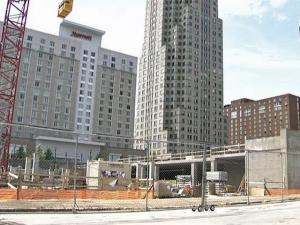 Raleigh's City Plaza on Fayetteville Street nears the end of construction.