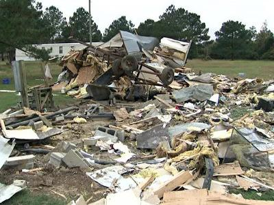 The remnants of a mobile home at 381 Slick Rock Road in Goldsboro. Police said Michael Earl Ricks, 47, drove a bulldozer into the home on Oct. 24, 2009.
