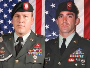 (Left to right) Sgt. 1st Class David E. Metzger, 32, of San Diego, and Staff Sgt. Keith R. Bishop, 28, of Medford, N.Y., were assigned to the 3rd Battalion, 7th Special Forces Group (Airborne) at Fort Bragg.