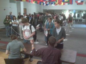 Students stood in line for more than two hours at N.C. State Friday to get an H1N1 vaccine.