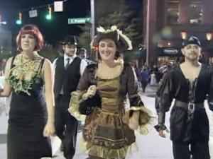 Costumed revelers walk Chapel Hill's Franklin Street Saturday, Oct. 31, 2009.