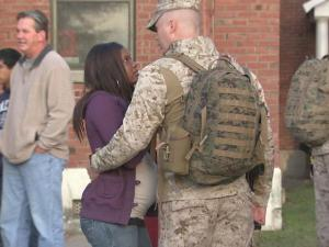 Hugs were the order of the day for families who came to see of their Marines.