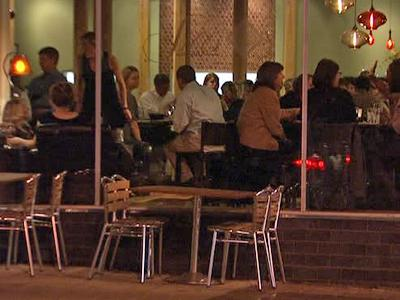 People dine at a downtown Raleigh restaurant.