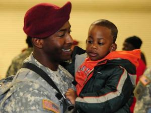 Families greeted 200 paratroopers at Pope Air Force Base early Sunday. The 82nd Airborne's 3rd Brigade is coming home after a year-long deployment to Iraq. (Photo courtesy of the 82nd Airborne)