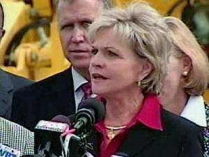 Gov. Beverly Perdue announced Monday, Nov. 9, 2009, a public-private partnership to finish construction on Charlotte's Interstate 485 outer loop.
