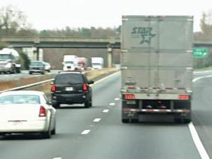 There are blind spots on all sides of tractor trailers.
