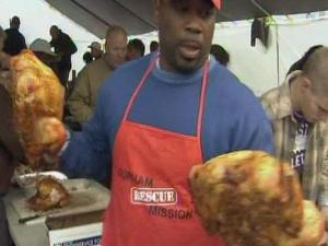 Volunteers prepared Thanksgiving dinner for the hungry at the Durham Rescue Mission.