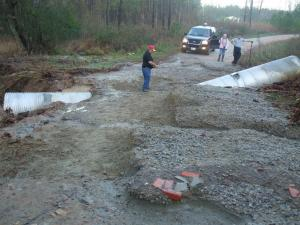 Heavy rains washed out Geranium Lane, off Briggs Road in Vance County overnight Wednesday, Dec. 3, 2009. (Photo courtesy of Carroll Bou)