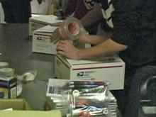 Teens pack care for soldiers overseas
