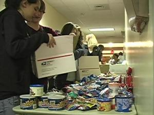 Teens from an Apex church prepared care packages for members of the military.