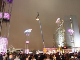 The crowd watches as the acorn gets ready to bring in the New Year at the First Night Raleigh 2010 celebration.