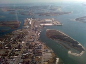 The port at Morehead City, seen in the upper center of this image from Sky 5, was closed on Jan. 12, 2010, because of a hazardous materials situation involving explosives.