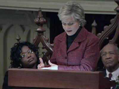 Gov. Bev Perdue speaks at an annual Martin Luther King Day event for state employees on Jan. 15, 2010.