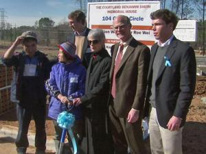 The family and friends of University of North Carolina-Chapel Hill student Courtland Smith break the ground of a Habitat for Humanity House on Saturday, Jan. 23, 2010. The house is dedicated to the memory of Smith, who was killed by police in August 2009.