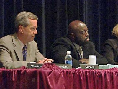 Members of the Wake County Board of Education attend a public forum on year-round schools at Southeast Raleigh High School on Feb. 11, 2010.