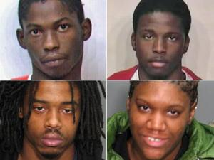 From top left, clockwise: Dwight Sherrod Taylor, Michael Javon Spencer, Tahji Antoine Eley and Shaniqua Shonta Burrell.