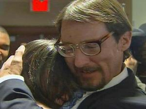 """Gregory Taylor hugs his daughter, Kristen Puryear, in front of a crowd of family, friends and media Wednesday, Feb. 17, 2010. """"I feel like I'm dreaming,"""" Puryear, 26, said of her father's release from prison."""