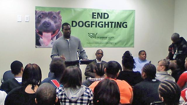 Former Atlanta Falcons quarterback Michael Vick spoke at New Horizons Academy in Durham Friday, Feb. 26, 2010, urging students not to get involved in dog fighting.