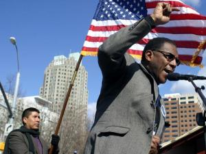 Curtis Gatewood addresses the crowd at the annual HKonJ March in Raleigh on Saturday, Feb. 27, 2010. (photo by Will Okun)