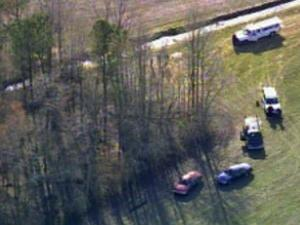 Sky 5 flies over the area where skeletal remains were found Saturday, March 27, 2010, off Seven Bridges Road in Edgecombe County.
