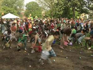On Saturday, hundreds of children scrambled around Moore Square in downtown Raleigh, hunting for Easter eggs.