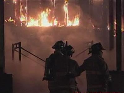 Clayton firefighters battle a blaze at Building Blocks Day Care on April 5, 2010.