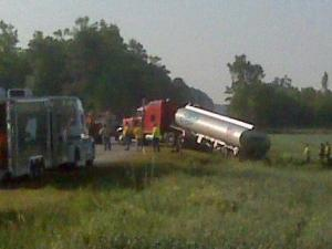 A tanker truck carrying 9,000 gallons of fuel overturned on U.S. Highway 701 in Johnston County early Thursday.