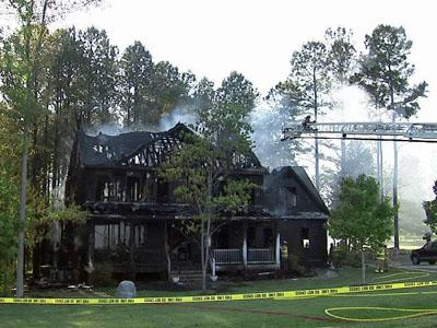 A fire broke out at this Wake Forest home on Powell Road on April 30, 2010.