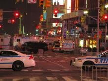 Danny Cook took this photo from behind police barriers in Times Square on May 1, as police investigated a car bomb there.