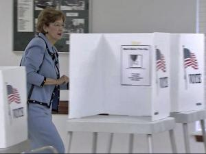 Democratic Senate candidate Elaine Marshall, who is North Carolina's secretary of state, casts her vote in the primaries on Tuesday, May 4, 2010.