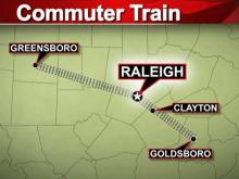 Commuter rail map, Goldsboro to Greensboro