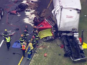Two tractor-trailers collided on U.S. Highway 64 near Lizard Lick in eastern Wake County on May 13, 2010.