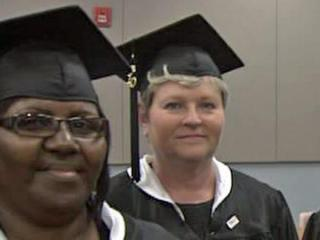 Delzora Atkinson and Eleanor Peedin received associate degrees Monday, May 17, 2010, from Johnston Community College.