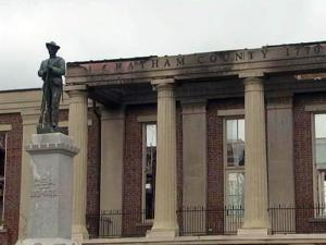 The scars of a March 25, 2010, fire are still evident on the Chatham County Courthouse months later.