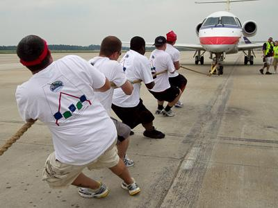 The annual Plane Pull at Raleigh-Durham International Airport last month helped raise $125,000 for Special Olympics North Carolina. (Photo courtesy of Paul Stackhouse)