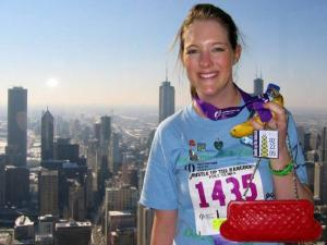 After receiving a heart transplant, Melissa Simon competed in the Hussel up the Hancock race.