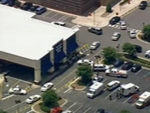 Sky 5 flies above the Beaver Creek Commons in Apex after a shooting was reported at the Target on May 30, 2010.