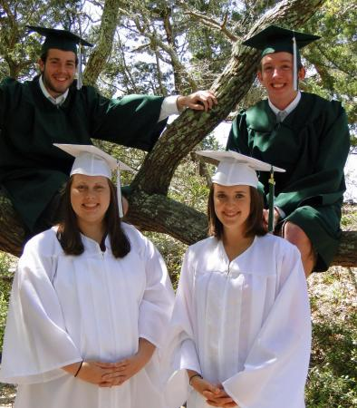 On Sunday, June 13, 2010, Aaron Parker Caswell, David Justin Lukefahr (top, left to right), Samantha Mary Jean Vander Myde and Jordan Elizabeth Jones (bottom, left to right) were graduated from Ocracoke School. (Photo courtesy of Myde)